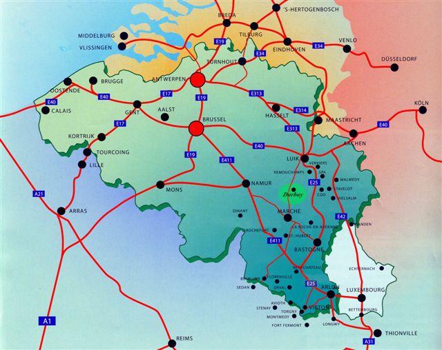 plattegrond van de Ardennen
